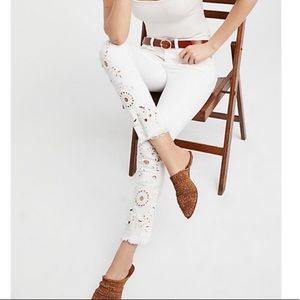 Free People White Embroidered Raw Hem Jeans